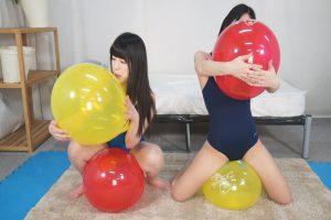 風船が性感帯を刺激 みくちゃんとえみちゃんがレズプレイで喘ぎまくる