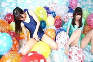 風船で遊びで感じ始める2人の女の子達 レズプレイがかなりエロいフェチ動画